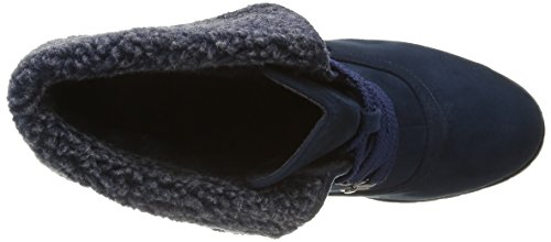 Angkorly - Zapatillas de Moda Botines botas militares mujer piel Talón Tacón ancho alto 9 CM - plantilla Forrada de Piel - Azul