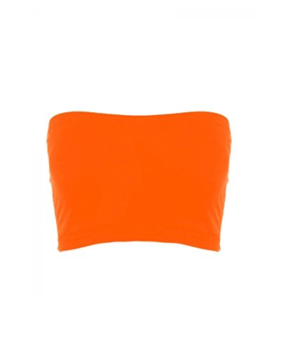Sugar Lips Seamless Crop Tube Top,Neon Orange,OS