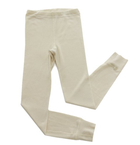 Long Natural Wool (Little Girls Organic Wool-Silk Long-Underwear Pants, Natural White, s. 116/6 yr)