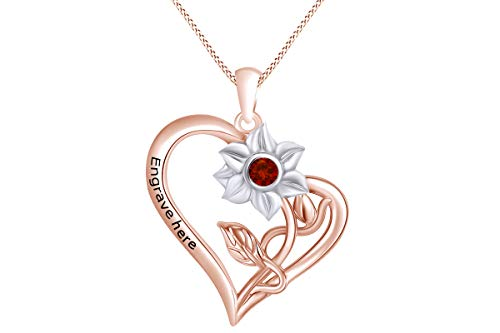 (AFFY Personalized Round Simulated Garnet Two Tone Sunflower with Heart Pendant Necklace in 14k Rose Gold Over Sterling Silver)