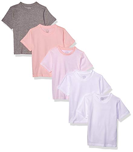 Moon and Back Toddler Set of 5 Organic Crew-Neck Short-Sleeve Tee Shirts, Pink Blush, 2T by Moon and Back