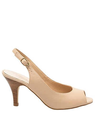 LE CHÂTEAU Women's Chic Leather Peep Toe Slingback,8,Nude - Leather Open Toe Slingbacks