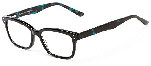 Readers.com The Chandler +1.75 Black and Blue Marble Colorful Retro Square Premium Acetate Reading - Fashion Chandler