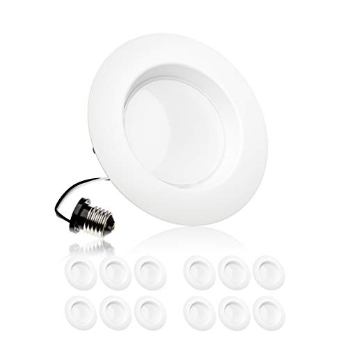 Parmida (12 Pack) 5/6 inch Dimmable LED Downlight, 15W (120W Replacement),EASY INSTALLATION, Retrofit LED Recessed Lighting Fixture, 5000K (Day Light), 1100Lm, ENERGY STAR & ETL, LED Ceiling Can Light