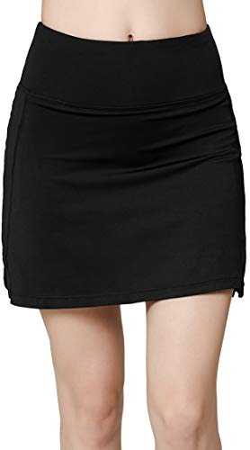 (Women's Active Athletic Skirt Sports Golf Tennis Running Pockets Skort Black M)