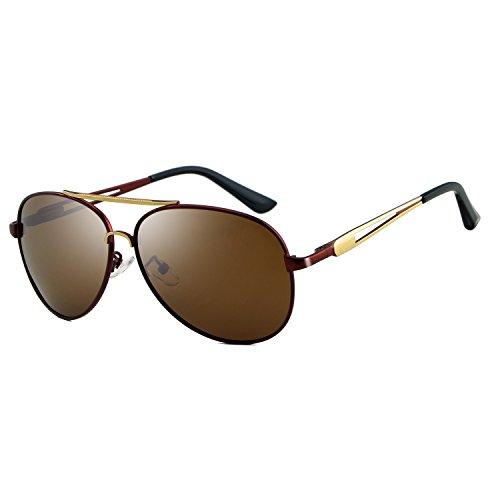 para de Yumeik de Gafas Brown Gafas polarizadas Brown Hombre Color Pantalones para aviación la la de Accesorios Retro de de diseñador de Marca Sol Sol Gafas Vendimia Hombres Pxadw0qPr