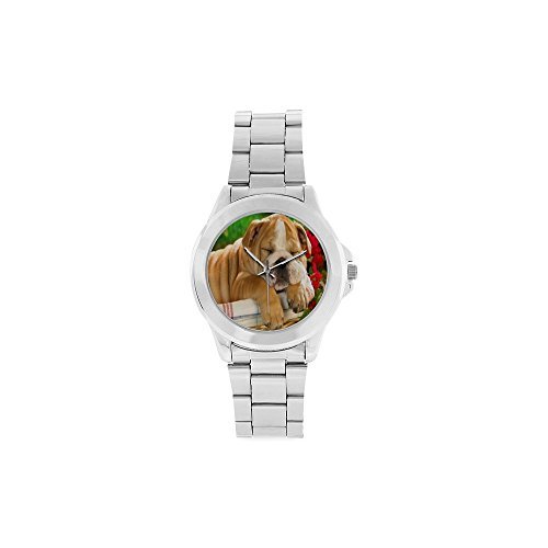 Christmas Gifts/Thanksgiving Day Gifts Lovely Bulldog Puppy Dogs Sleeping Unisex Stainless Steel Watch ()