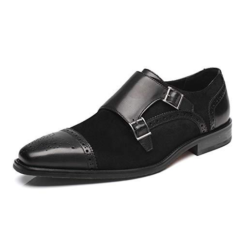 La Milano Men's Suede Leather Dress Shoes Double Monk Strap Cap Toe Slip On Loafer Oxford Classic Comfortable Formal Business Shoes for Men Black Black Suede Leather Shoe
