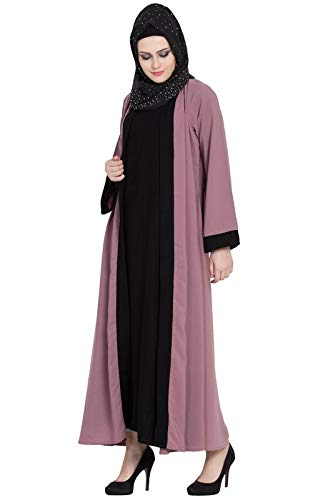 AbayaLooks Libas Puce Pink Color & Black Color Stylish Shrugg Abaya Burkha for Women_Small