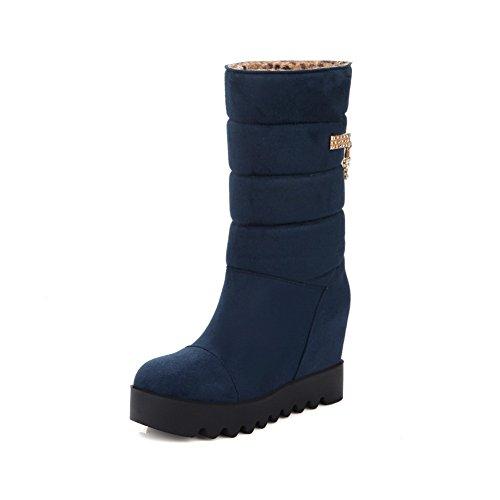 Balamasa Meisjes Metalen Ornament Platform Verhogen Binnen Geïmiteerd Lederen Laarzen Blauw