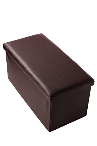 Folding Rectangular Storage Ottoman – Faux Leather Bench, Footrest, Storage Box – Brown For Sale