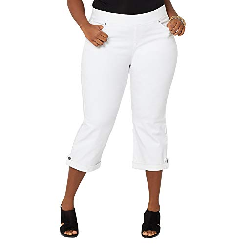 (Avenue Women's Ultimate Fit Pull-On Button Cuff Capri in White, 22 White)