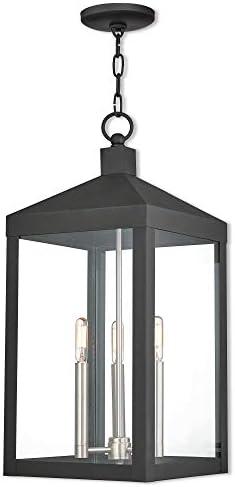 Livex Lighting 20587-04 Black Nyack 3 Light Outdoor Pendant Lantern