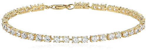 Amazon Essentials Yellow Gold Plated Sterling Silver Round Cut Cubic Zirconia Tennis Bracelet (3mm), 7.25