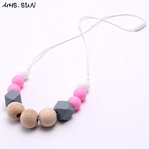 Baby Teething Necklace | Safety Silicone Original Wood Nursing Necklace | Chewable for Mother and Baby
