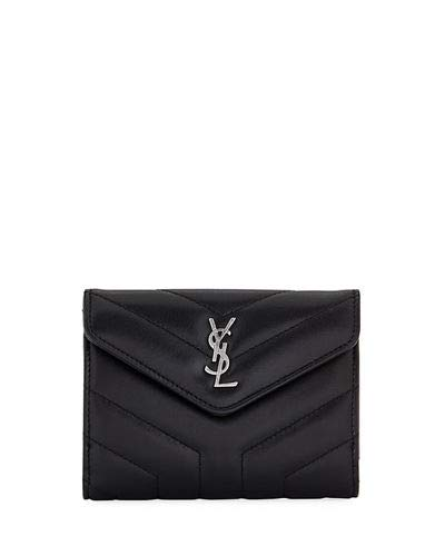 Saint Laurent Loulou Small V-Flap Wallet made in Italy (Black)