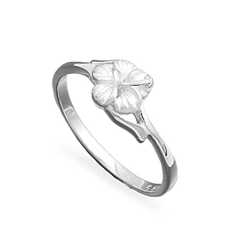 CloseoutWarehouse Sterling Silver Single Plumeria Flower Ring Size 5