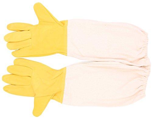 Beekeeping Gloves-LeBeila Goatskin Beekeepers Gloves, Anti Sting Accessories Beekeeping Protective Gloves With Vented Long Sleeves For Bee Keeping Beginner Large (Beekeeping Gloves-White Brown)
