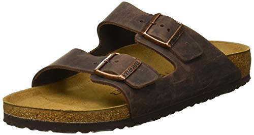 Extra Wide Leather Sandals - Birkenstock Arizona Unisex Leather Sandal, Habana Oiled Leather, 38 M EU