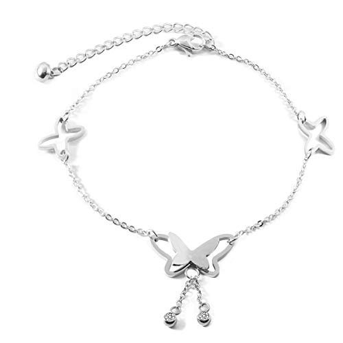 Butterfly Fashion Jewelry - Forise Stainless Steel Silver Color Butterfly Anklets for Women Girls Adjustable Beach Fashion Foot Jewelry