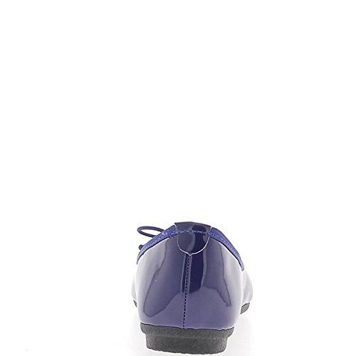Ballerina blu verniciato con bordo nodo e tessuto