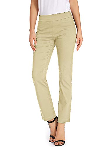 (Women's Casual Bootcut Dress Pants Stretch Comfort Fit Pull on Work Trousers with Pockets Khaki Tag 14)
