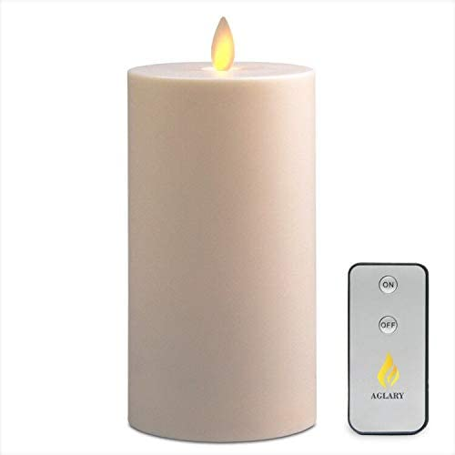 AGlARY Waterproof Battery Operated LED Candles, Timer Function with Remote Control Pillar Candles, Outdoor Indoor for Party Garden Wedding Patio Decoration 3×7 Inch