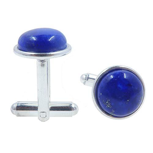 SatinCrystals Lapis Cufflinks 12mm Boutique Genuine Blue Gemstone Polished Circle Pair B01 (Silver-Plated-Brass)