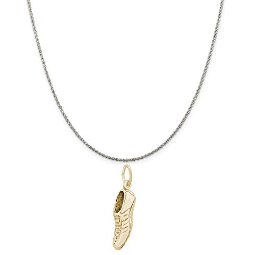 Rembrandt Charms Two-Tone Sterling Silver Track Shoe Charm on a Sterling Silver Rope Chain Necklace, 16