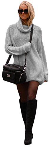 donna Maglione Griggio collo maglia 648 maglietta Pullover Mikos maniche Lungo alto Felpa lunghe 4U7nw5x6dq