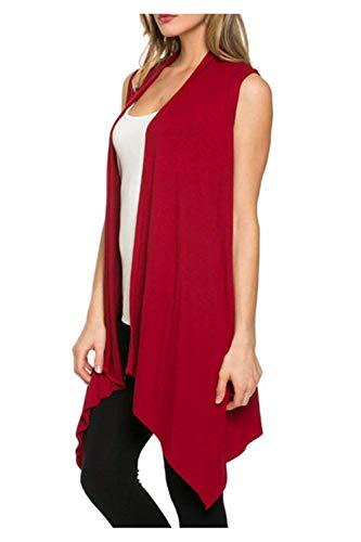 Cardigan Femme Fashion Large Casual Confortables Doux Outerwear Et lgant Unicolore Vtements sans Manches Irregular Style Moderne Manteau Coat Rouge