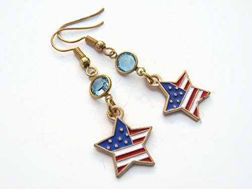 - American Flag Star Birthstone Earrings, Gold Tone Patriotic Earrings, Personalized USA Enamel Jewelry