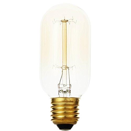 Refaxi Vintage Light Bulb, Retro Edison E27 Filament Tungsten Screw Lamp LED Light Bulb - T45(Straight Wire Design)