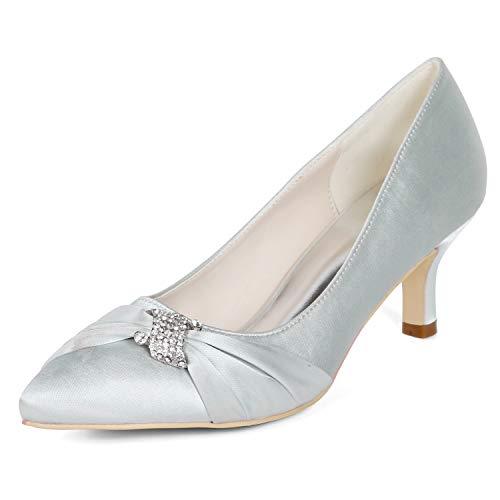 Brautjungfer Silver Heel Prom Blume Größe Mitte Heels 35 Frauen Satin Hochzeit High L 43 Elfenbein YC Schuhe qRwS4xaHZ