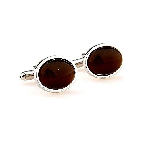 Ellipitical Brown Onyx Cufflinks 161893