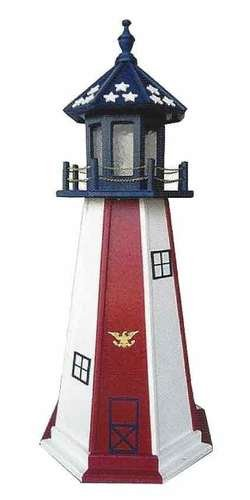 Amish-Made Red, White and Blue Vertical Paneled Wooden Outdoor Lighthouse with 25 Watt Light, 45'' Tall by Beaver Dam Woodworks