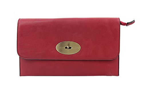 with Leather Craze Long with Envelope Clutch London Faux Strap Bag Lock Womens Red Twist Shoulder xqFFW0rnt