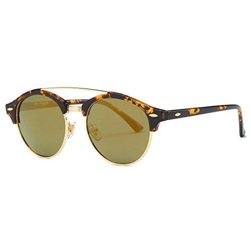 AEVOGUE Polarized Sunglasses Mens Semi-Rimless Retro Unisex Glasses AE0504 (Tortoise&Gold, 51)