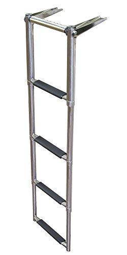 White Water Marine Stainless Over Platform Telescoping Boat Ladder, (3 & 4 Step) (4-Step) ()