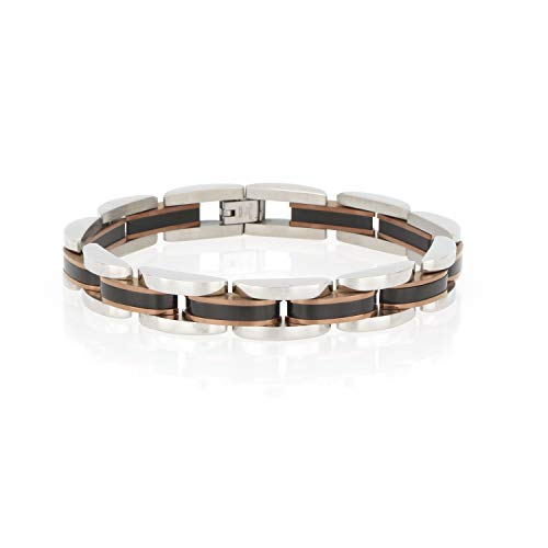 (Arrow Jewelry Stainless Steel IP-Plated Multicolored Link Bracelet, Polished/Satin Finish, 8.5