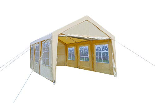 GOJOOASIS Carport Frame Tent Party Tent Heavy Duty Portable Car Garage Tent Outdoor Gazebo (10' x 20' with 8 -