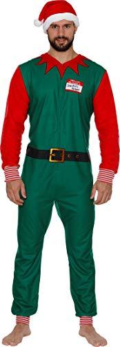 Secret Santa Adult Mens Womens Christmas Holiday Elf Onesie Pajama, Elf Onesie, Size Small -