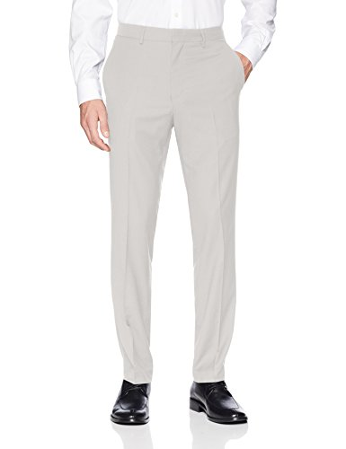 Kenneth Cole REACTION Men's Techni-Cole Stretch Slim Fit Suit Separate Pant (Blazer,  and Vest), Light Grey Basketweave, 40x32