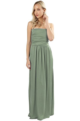 12 Ami Katie Solid Basic Strapless Pocket Maxi Dress Sage (Vanilla Sage)