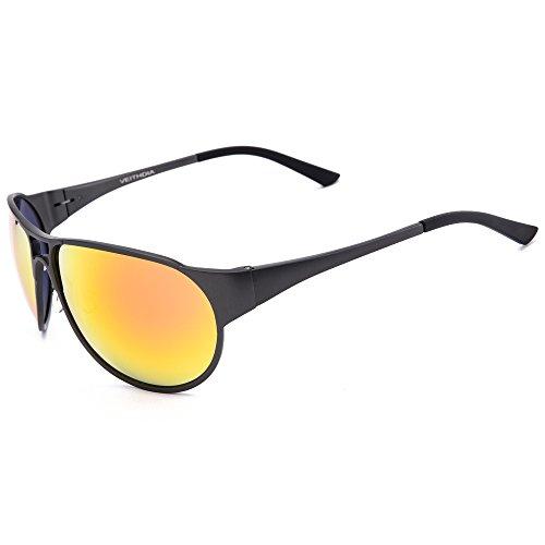 VEITHDIA 8134 Sport Al-Mg Metal Frame Polarized Aviator Sunglasses 100% UV Protection (Grey Frame/Orange Lens, as the - Online Sunglasses Branded