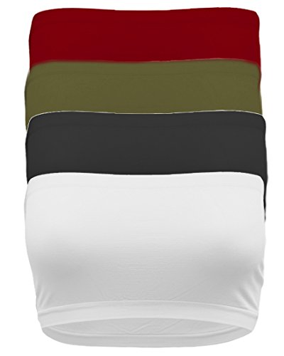 TL Women's 4 Pack One Size Strapless Seamless Active Base Layer Bandeau Tube Top BK_WH_Burg_DKOLV (Tube Base)