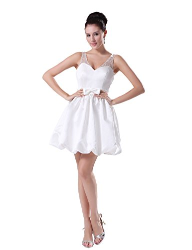Dressystar Short Prom Gowns Wedding Dresses Beaded Visible Straps Size 2 White