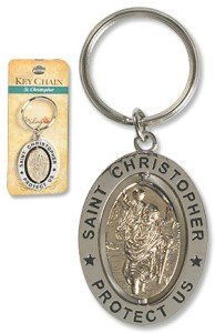 Travel Prayer Keychain - CB Saint St Christopher 3-1/4-inch Zinc Alloy Silver Plate Revolving Dual Tone Key Ring with Prayer