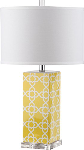Yellow Ceramic Table Lamp - Safavieh Lighting Collection Quatrefoil Yellow 27-inch Table Lamp
