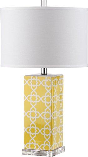 Safavieh Lighting Collection Quatrefoil Yellow 27-inch Table Lamp
